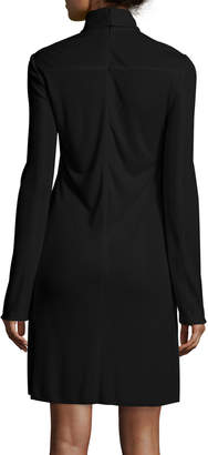 Calvin Klein Long-Sleeve Sheer-Paneled Dress, Black
