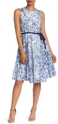 Gabby Skye Sleeveless Lace Belted Dress