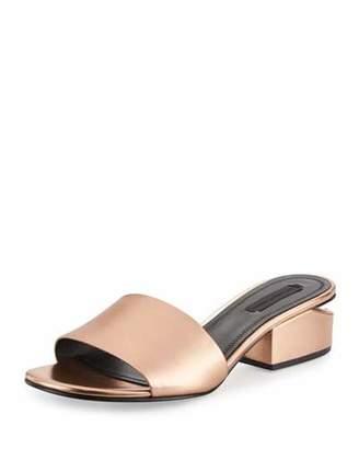 Alexander Wang Lou Metallic Slide Sandals, Rose Gold