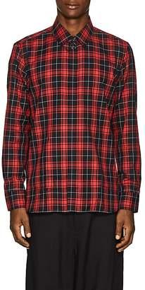 Neil Barrett Men's Pierced-Collar Plaid Cotton Shirt