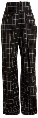 Preen by Thornton Bregazzi Ida Windowpane Checked Wide Leg Wool Trousers - Womens - Black White