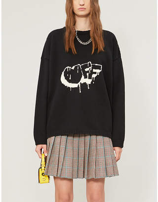 Off-White Checked-graphic relaxed-fit cotton-blend jumper