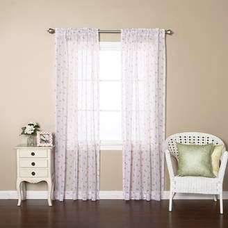 Best Home Fashion Best Home Fashion, Inc. Antique Rose Nature/Floral Sheer Rod Pocket Curtain Panels