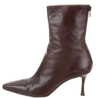 Manolo Blahnik Leather Mid-Calf Boots brown Leather Mid-Calf Boots