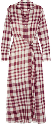 Theory - Jinniefield Wrap-effect Plaid Cotton Shirt Dress - Red $395 thestylecure.com