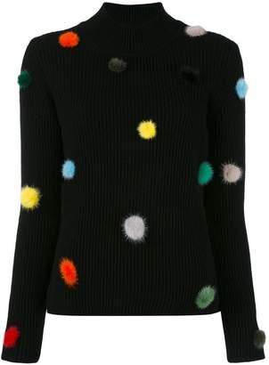 Fendi cashmere knit pom pom top