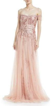 Rickie Freeman For Teri Jon Off The Shoulder Sequin Lace Gown With Tulle Overlay