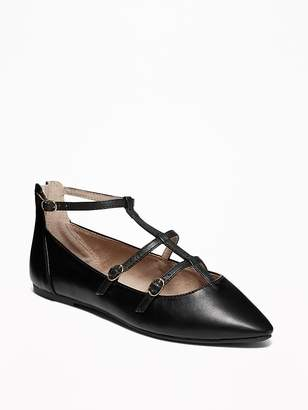 Old Navy T-Strap Pointed-Toe Ballet Flats for Women
