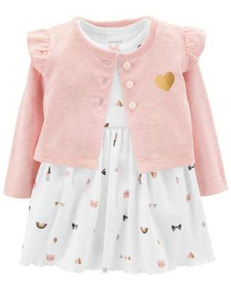 Carter's Baby Girl Print Bodysuit Dress & Ruffled Cardigan Set