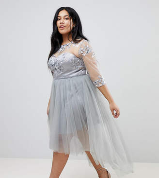 Chi Chi London Plus High Neck Tulle Midi Skater Dress With Lace Sleeves and High Low Hem
