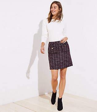 LOFT Petite Boucle Pocket Shift Skirt