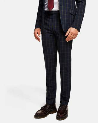 Topman Check Muscle Fit Suit Trousers
