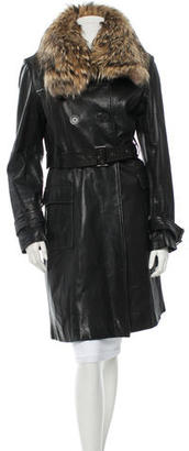 Andrew Marc Fur-Trimmed Leather Coat $415 thestylecure.com