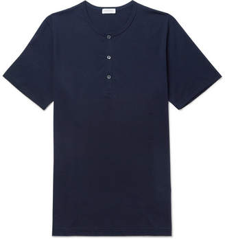Sunspel Cotton-Jersey Henley T-Shirt - Navy