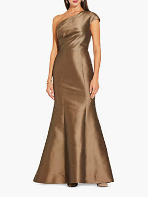 Adrianna Papell One Shoulder Long Dress, Mink