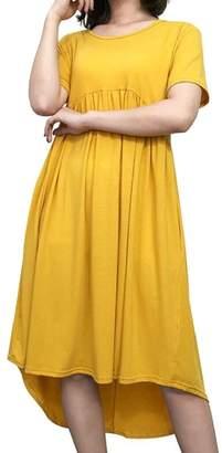 Gocgt Women's Short Sleeve Empire Waist Shirred Swing Dress XL