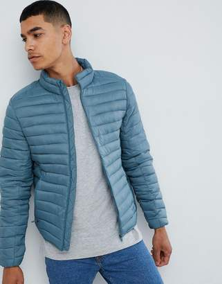 Pull&Bear quilted jacket in blue