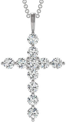 Charles & Colvard Moissanite Large Cross Pendant (1-1/10 ct. t.w. Diamond Equivalent) in 14k White Gold