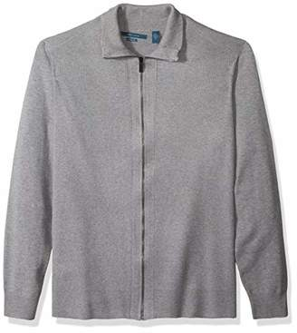 Perry Ellis Men's Big and Tall Solid Rib Full Zip Sweater