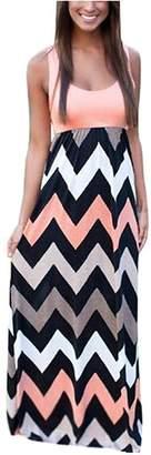 Ur-Fashion Womens Wave Striped Summer Beach Dress Party Long Maxi Dresses