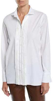 Brunello Cucinelli Pleated Monili Placket Long-Sleeve Poplin Blouse