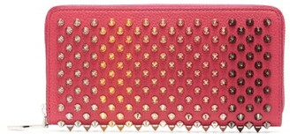 Christian Louboutin Panettone Spike Embellished Leather Wallet - Womens - Pink Multi
