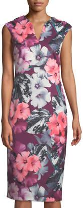 Cynthia Steffe Cece By Floral-Print Split-Neck Sheath Dress