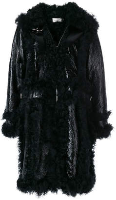 Marques'almeida oversized fur trim coat