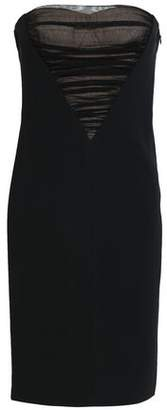 Alexander Wang Strapless Ruched Tulle-Paneled Stretch-Crepe Mini Dress