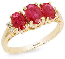 Effy 14K Yellow Gold 0.08TCW Diamond and Oval Ruby Ring