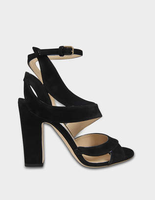 Jimmy Choo Falcon 100 3 Straps Sandals in Black Suede