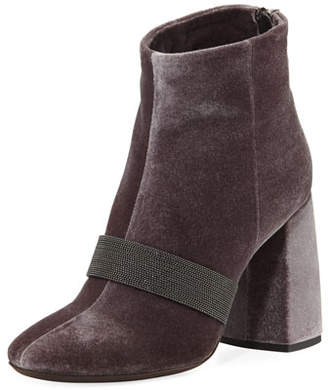 Brunello Cucinelli Velvet Zip Monili-Trimmed Booties