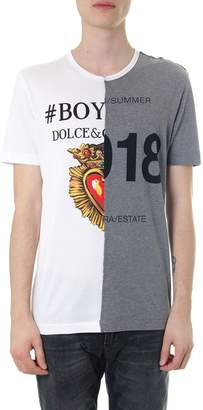 Dolce & Gabbana Gray & White Cotton T-shirt With Boy Summer Print