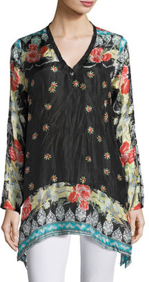 Johnny Was Fiesta V-Neck Long-Sleeve Printed Tunic $210 thestylecure.com