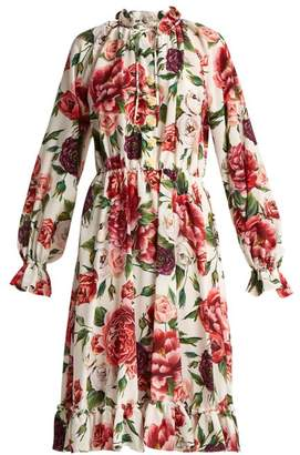 Dolce & Gabbana Silk Crepe De Chine Rose And Peony Print Dress - Womens - White Multi