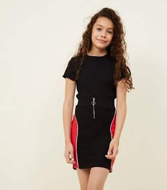 New Look Girls Black Panelled Ring Zip Front Skirt