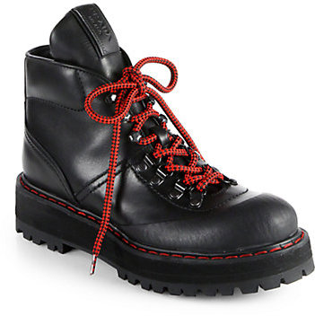Prada Leather Lace-Up Platform Ankle Boots