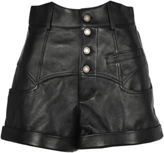 Saint Laurent Shiny Lambskin Wester-style Shorts