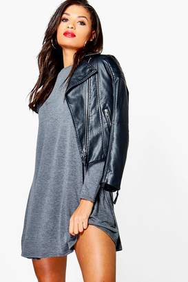 boohoo Scoop Neck Long Sleeve Swing Dress