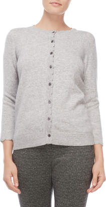Ply Cashmere Scalloped Three-Quarter Sleeve Cashmere Cardigan