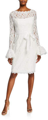Shani Illusion-Neck Bell-Sleeve Lace Sheath Dress w/ Sash