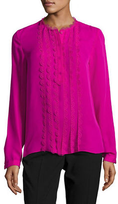 Elie Tahari Antonella Scalloped Silk Blouse $298 thestylecure.com