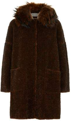 D-Exterior D.Exterior Fur Collar Tweed Jacket