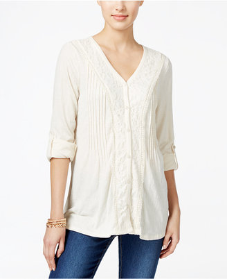 Style & Co Lace-Trim Textured Blouse, Only at Macy's $49.50 thestylecure.com