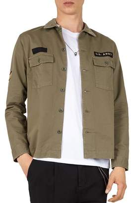 The Kooples Embroidered Regular Fit Army Shirt
