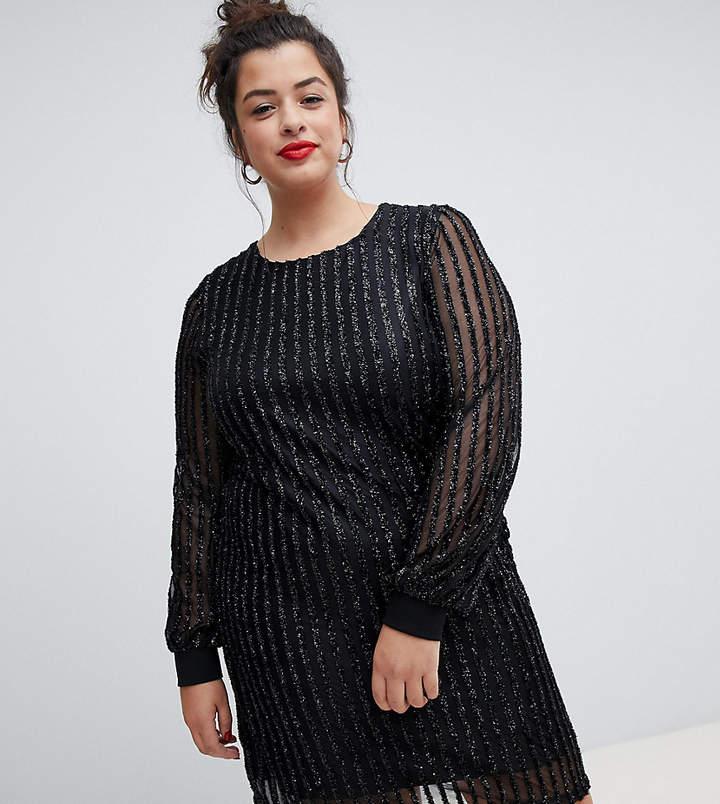 Curve Glitter Stripe Dress