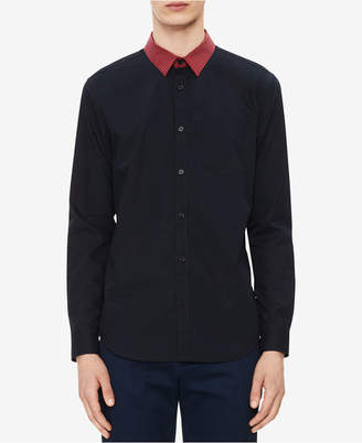 Calvin Klein Men's Modern Fit Striped-Collar Shirt