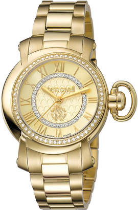Roberto Cavalli By Franck Muller 36mm Golden Stainless Steel Bracelet Watch, Champagne