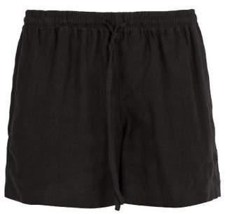 Commas - Straight Leg Linen Shorts - Mens - Black