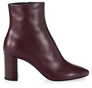 Saint Laurent Women's Lou Point Toe Leather Booties